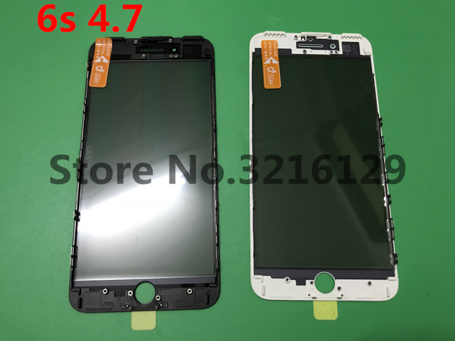 50pcs Cold Press Replacement LCD Front Touch Screen Glass Outer Lens with frame OCA+Polarized film for iphone 6s 4.7inch
