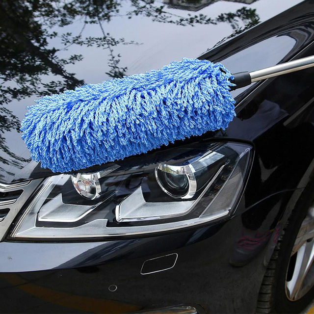 Auto Car Cleaning Brush Dust Dusting Tool Large Microfiber Duster Blue