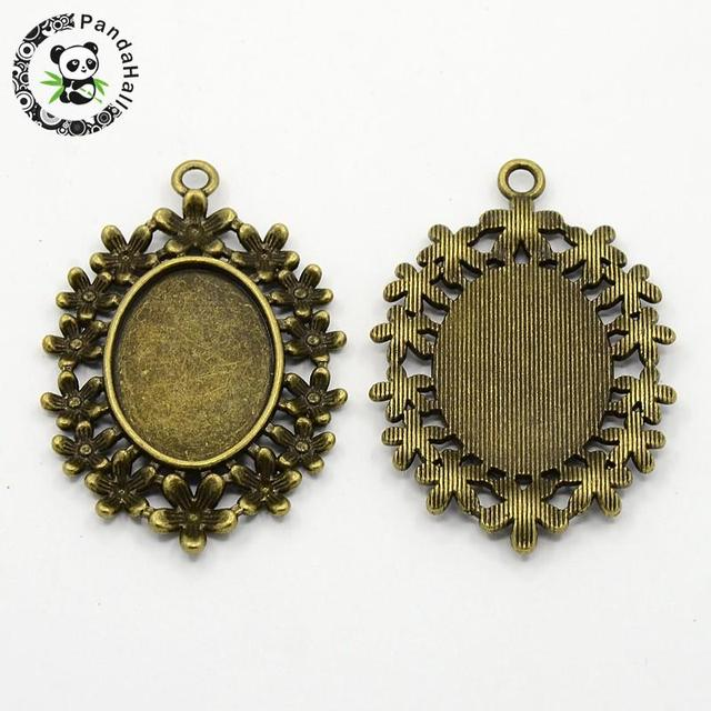 Alloy Rhinestone Pendant Cabochon Settings, DIY Findings for Jewelry Making, Oval, Antique Bronze Color, 33.5x50x2mm, Hole: