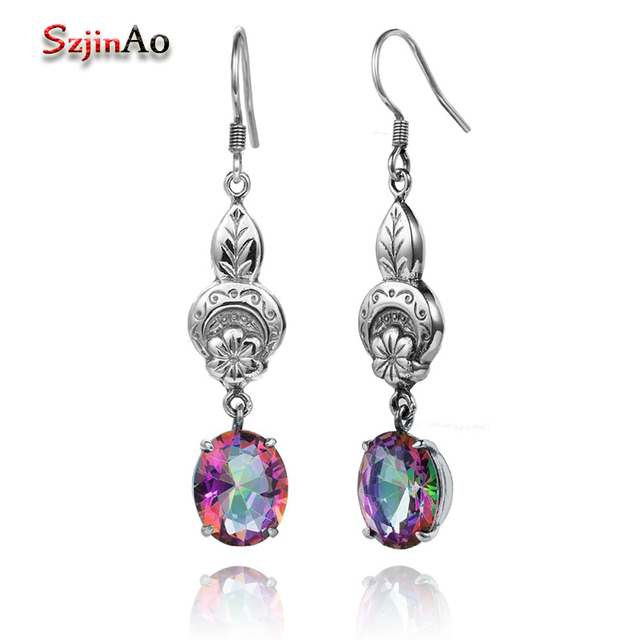 Szjinao Trendy 925 Sterling Silver Long Dangle Earrings Mystic Fire Rainbow Topaz Silver-925-Jewelry Luxury Bridal Earrings