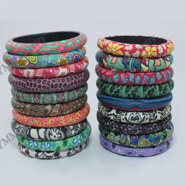 Promotional polymer clay bangles free shipping, Bohemian style mixed colors bangles wholesale or retail