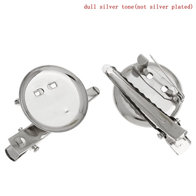 Silver Color Alligator Prong Clip Brooches with Pin Needle 4x2.3cm (Pad 23mm), 20PCs (B15972)