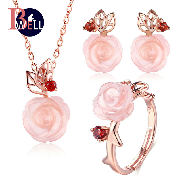 Bwell Pink Flower 100% 925 Sterling Silver Jewelry Sets For Women Natural Gemstone Rose Quartz Wedding Jewelry For Women V033ENR