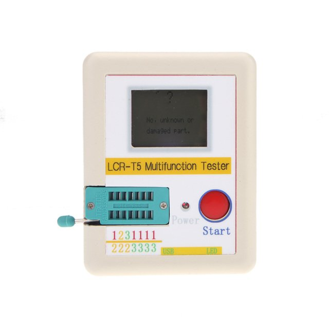 LCR-T5 White Transistor Tester Diode Triode Capacitance ESR Meter Tester With LCD Display MOS Triac + Case + Li-ion Battery