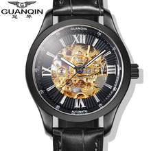 Luxury Brand GUANQIN 2015 Fashion Skeleton Watches Men Wristwatches automatic Mechanical Watches Rose Gold