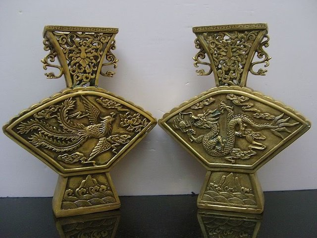 Very rare QingDynasty copper vase, a pair , carving draong&  phoenix, good adornment, free shipping