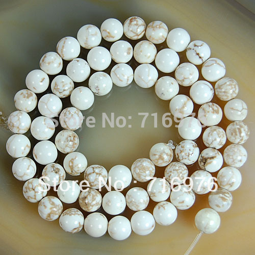 wholesale For Jewelry Making 8MM White Turquoises Round Beads 48pcs/lot  jewelry making-F00040