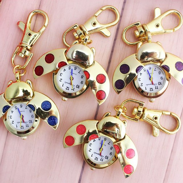 chaoyada 1pcs Red Ladybug Beetle Necklace Pocket Quartz Watch Chain Battery Included Gift