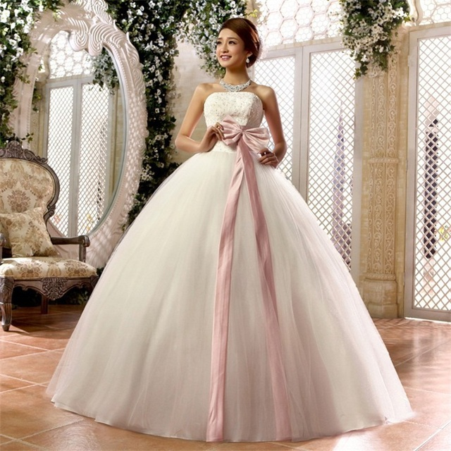Hot Sale Wedding Dresses with Sashes Bow White/Ivory Strapless Bridal Gown Princess Ball Gown Formal Dress Vestidos De Novia