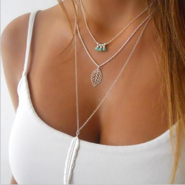 Tenande Bohemian Multi Layer Natural Stone Beads Hearts Leaves Simulated Pearl Choker Necklaces & Pendants for Women Jewelry