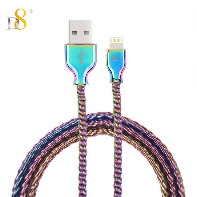 D8 MFI Certified Dazzle Color Metal  USB Cable Fast Charging Data Lightning Line for iPhone X 7 8 Plus 6 IOS Genuine Leather 1M