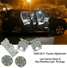 Free shipping!5pcs/set Led Interior Dome&Map Reading Light Lamp Bulb Interior Package light for 2009-2011 Toyota Highlander
