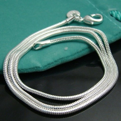 "50pcs/lot Wholesale Free Shipping 1.0mm Snake Chains nake chain 16"",18"",20"",22"" ,24""  Silver Plated Necklace Chain"