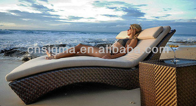 Natural Look Rattan Outdoor Furniture Chaise Lounge Daybed