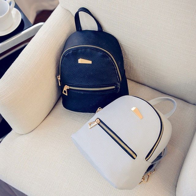 3 Color Faux Leather Rucksack Women Bag Durable Backpack Mini Waterproof Shell Bag