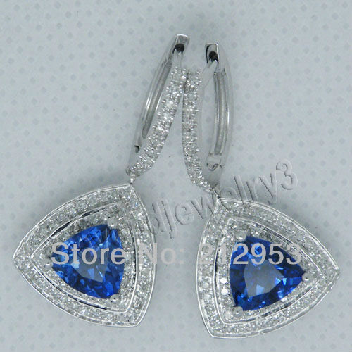 Women Jewelry Trillion 7mm Nautal Tanzanite With Dia In18Kt White Gold Earrings ESR0055