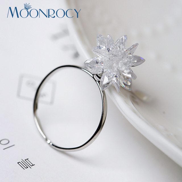 MOONROCY Free Shipping Jewelry wholesale White Crystal Rings wedding ring for Women Party Ice flower rings Gift