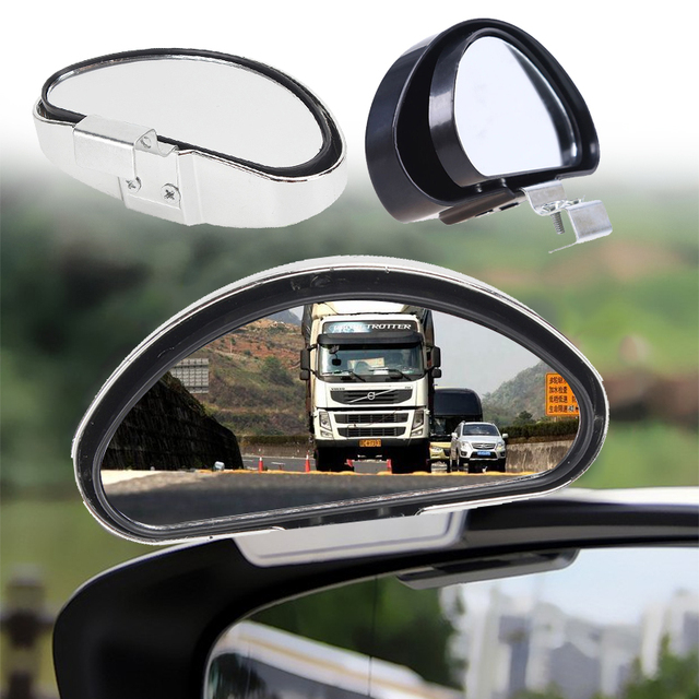 Blind Spot Mirror Safety Lens Reversing Glass Clear Zone Durable Trucks Parking Auto Wide Angle Silver/Black Car SUV