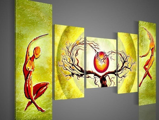 hand-painted wall painting Pale green sun  tree dancing  home decoration abstract oil painting on canvas 5pcs/set framed