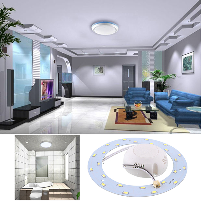12W 24Leds LED Ring Panel Circle Light Round Ceiling Board AC220V SMD 5730 LED Circular Lamp Board For Dining Room Pure White
