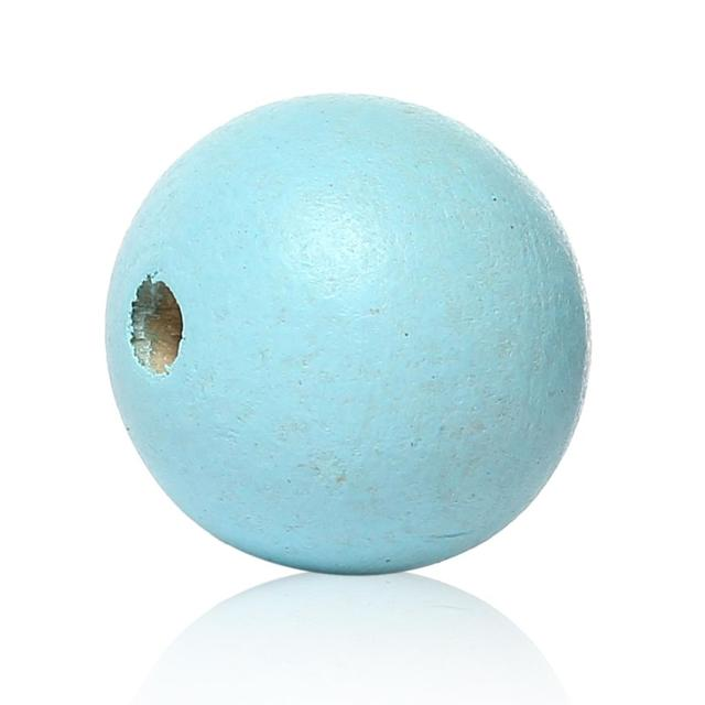 "DoreenBeads Wood Spacer Beads Round Light blue About 25mm(1"") Dia, Hole: Approx 5.4mm-5.9mm, 4 PCs"