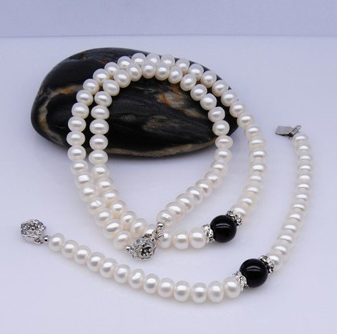 Fashion Black Color Classical Freshwater Pearl Jewelry Set, Necklace/Bracelet Jewellery Set Accessory Charms+Free Shipping