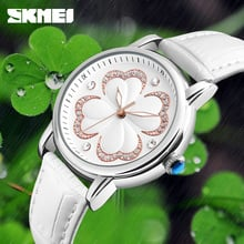 SKMEI Top Brand Luxury Women Quartz Watches Simple Fashion Ladies Watch Genuine Leather Waterproof Wristwatches Relogio Feminino