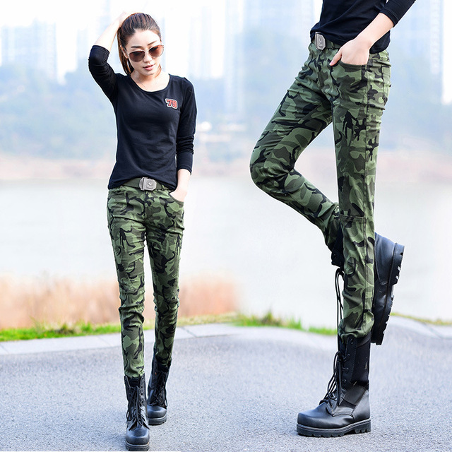 Autumn 2017 Women Casual Military Sportswear Camouflage Trousers Army Green Stretch Skinny High Waist Pencil Pants Female