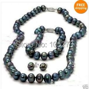 Charming!AA 8-9MM Black color Genuine Freshwater pearl necklace 18''inchs Bracelet 7.5''inchs earring jewelry set Free shipping