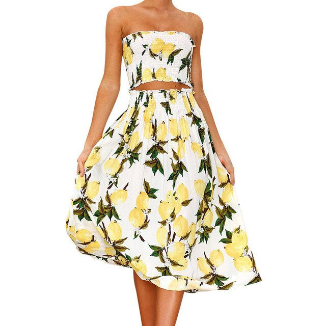 2019 Boho New Sexy Women Two Piece Set Crop Top Long Skirt Floral Printed Bandeau Strapless High Waist Casual Suit