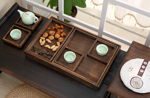 Manufacturers selling wooden Kung Fu tea set tea ceremony Japanese wood tray convenient format burn tea tray