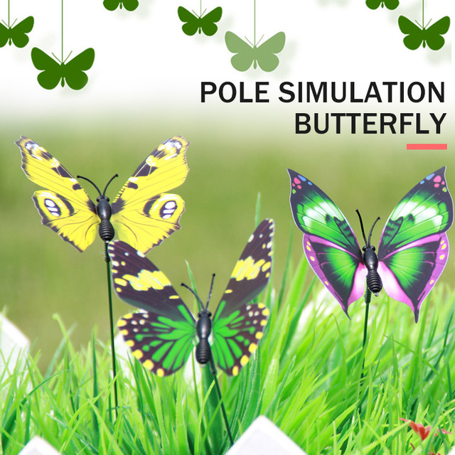 on Sticks Butterfly Garden Decor Lawn Decoration Creative Beautiful Lawn Craft 3D Garden Ornament for Outdoor Drop Shipping