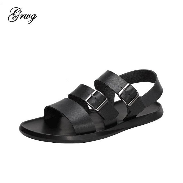 GRWG 100% Genuine Leather Men Summer Sandals Breathable Casual Shoes Men Soft Sandals High Quality Men Shoes Free Shipping