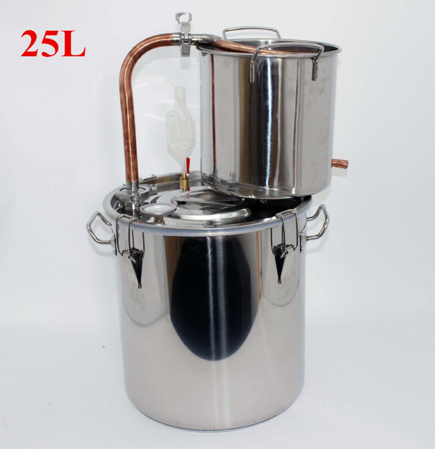 25L Copper Brewing Equipment Household Small Steam Distillation Of Brandy Wine Taste Good Purification Cpacity Of 25KG