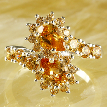 New Fashion Water Drop Women Rings Champagne Morganite  Silver Ring Size 8 10 Fancy Elegant Jewelry Wholesale Free Shipping