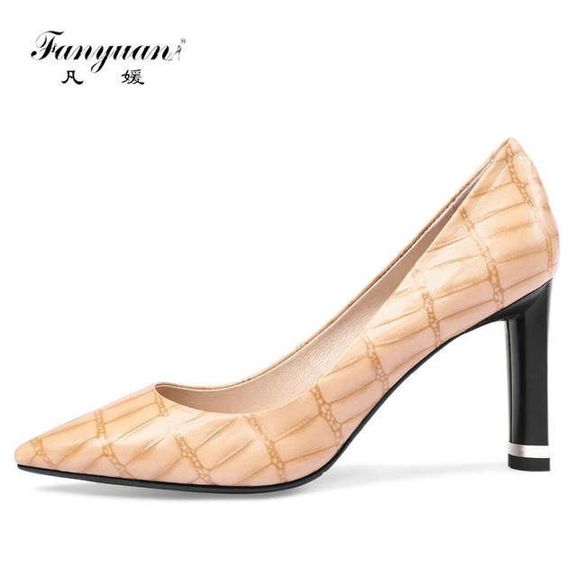 Fanyuan women high heels platform pumps lady elegant pointed toe wedding shoes Apricot black pumps handmade genuine leather shoe