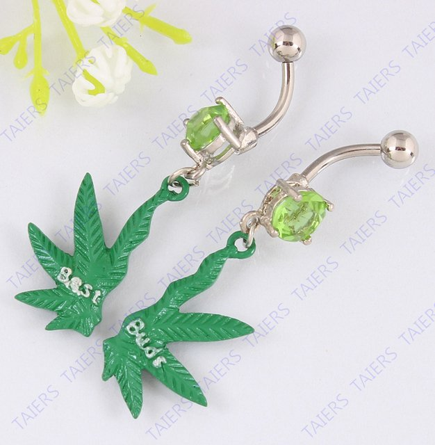 Best friends Maple belly button ring forever fashion navel ring body piercing jewelry 14G 316L surgical steel bar Nickel-free