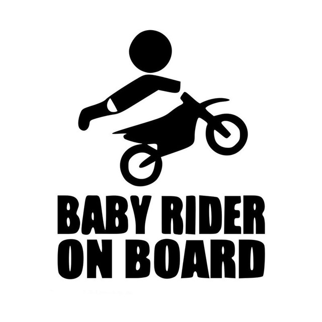 Funny Baby Rider On Board Car Sticker Reminder Adhesive Window Glass Decoration