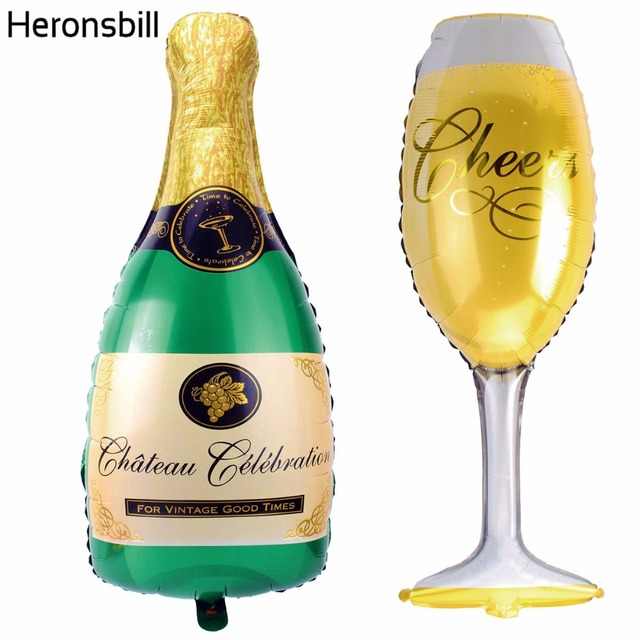 Heronsbill Champagne and Cup Big Foil Balloons Wedding Event Decoration Adult Birthday Bachelorette Party Supplies Graduation