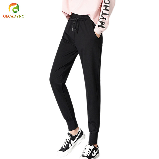 Spring Women Sweatpants Elastic Waist Women Bottoms Fashion Casual Leisure Trousers Black Harem Pants Girls Plus Size S-XXXL