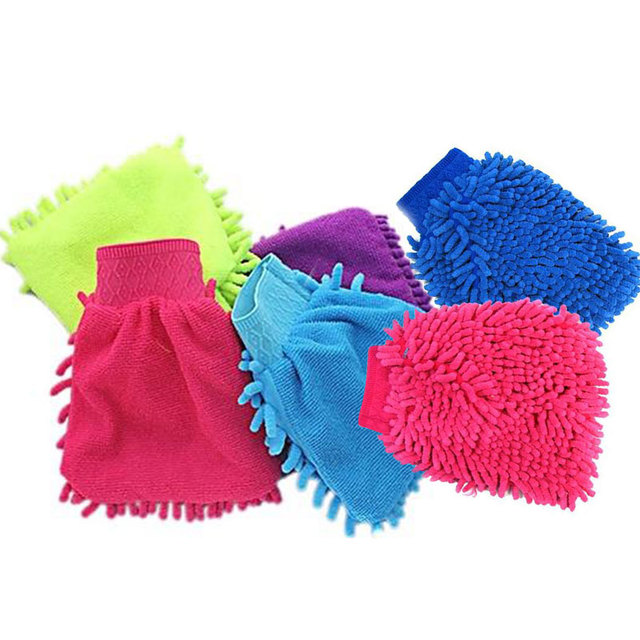 Microfiber Hand Towel Cleaning Sponge Car Washing Glove Glove Washing Car Soft Hand Coral Chenille
