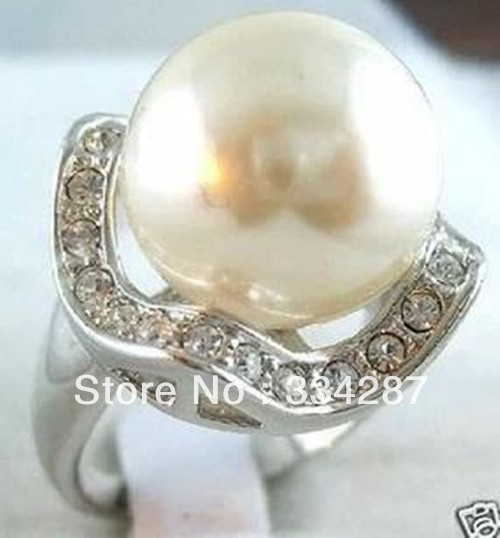 14mm white sea shell pearl  Silver Plated  women fashion  ring