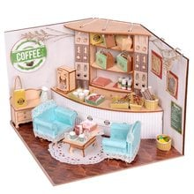 New Sweet Home Colombian Coffee House Room DIY Dollhouse Kit With LED Light Wood Miniature Dollhouse toys Decor Gift