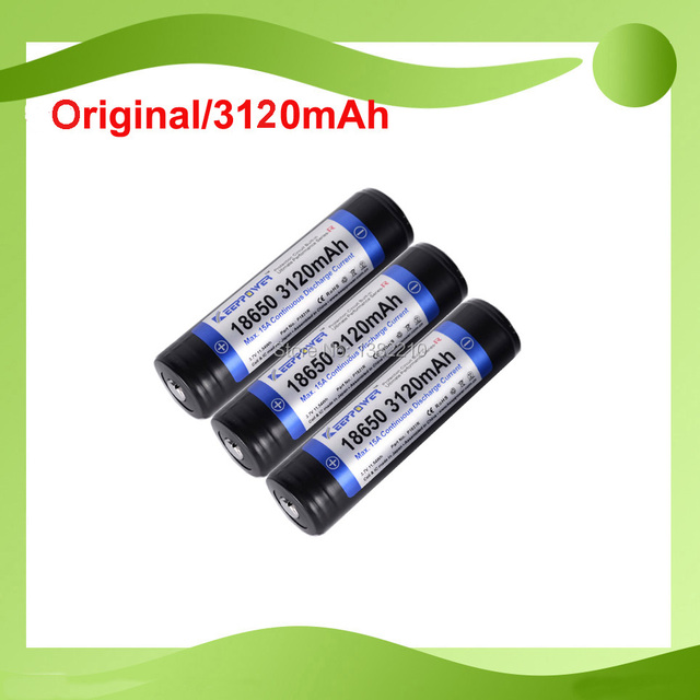 10PCS/lot 100% Original Keeppower High End PROTECTION 3.7V 18650 3120mAh 15A Discharge LED Torch Battery