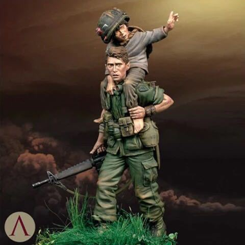 1/24 Scale 75MM Vietnam War American Soldiers and Children Unpainted Resin Model Kit Figure Free Shipping