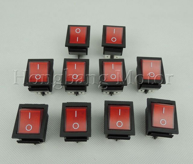 Free shipping!50Pcs/Lot 4 Pin Red Light ON / OFF Rocker Switch push button switches 250V 15A 125V20A