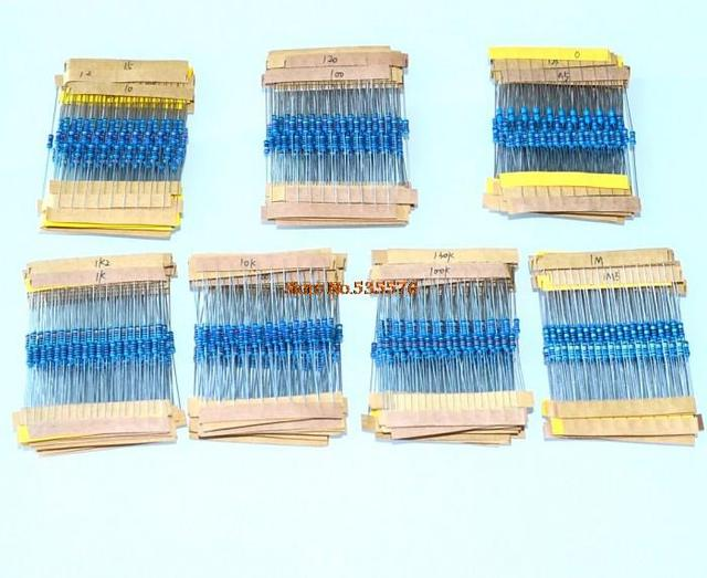 10* 150Values ,1/4W 5% Metal Film Resistor Kit 1500 Values &