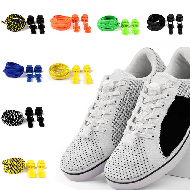 1Pair Stretching No Tie Shoelaces Locking Flat Shoe Laces Kids Adult Sneakers Shoelace 100cm Lazy Shoe Strings