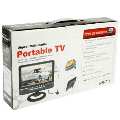 Monitor 7 Coche Barato 7inch Small TV Portatil Mini 800*480 With AV In & Out , USB , SD Card Slot To Play Media/Music/Movie