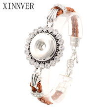 Hot Sale Xinnver Snap Bracelet&Bangles 18mm DIY Snap Button Jewelry Women's Silver Bracelet With Charms